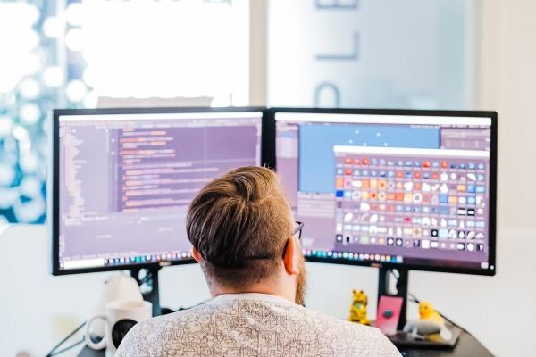 SEGA HARDlight employee making a game